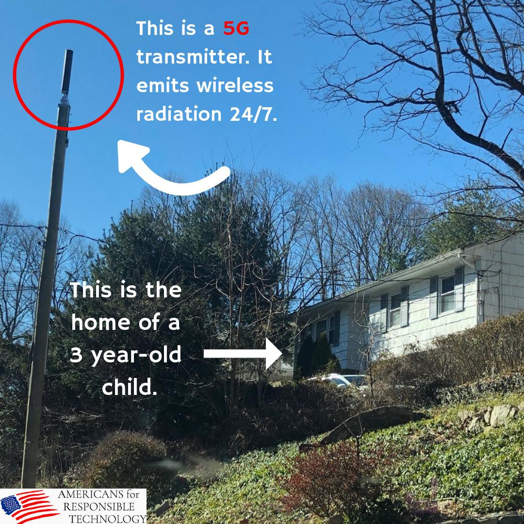 photo showing a wireless transmitter near a home where a 3 year-old child lives.
